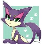 :< animal_focus artist_name blue_background border cat closed_mouth commentary gen_5_pokemon green_eyes half-closed_eyes looking_at_viewer no_humans outline paw_print pokemon pokemon_(creature) purrloin rorosuke simple_background solo twitter_username upper_body white_border