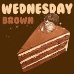 brown_background cake cake_slice chocolate dessert english_text food food_focus icing le_delicatessen no_humans original pastry simple_background sparkle still_life wednesday