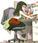 1girl arm_support ass bangs beige_sweater black_legwear blazer blunt_ends book brown_eyes brown_hair cable chair commentary_request computer corded_phone cubicle cup desk disposable_cup drinking_straw english_commentary glasses head_rest highres indoors jacket jacket_removed leaning_forward long_hair long_sleeves looking_ahead looking_away looking_to_the_side miniskirt monitor mouse_(computer) mug office_chair office_lady office_lady_taiwan orange_skirt original pantyhose partition pencil_skirt phone pink_footwear plant profile ribbed_sweater sideways_mouth single_slipper sitting skirt slippers solo sticky_note stuffed_animal stuffed_toy succulent_plant sweater sweater_tucked_in tennohi toe_scrunch