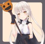 1girl bangs black_gloves blush breasts cape closed_mouth earrings eyebrows_visible_through_hair food_themed_earrings gloves grey_hair halloween hands_up highres holding jewelry long_hair looking_at_viewer orange_eyes original parufeito pumpkin pumpkin_earrings sidelocks simple_background small_breasts smile solo