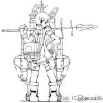 1girl dated dress eyebrows_visible_through_hair gloves holding holding_spear holding_weapon kantai_collection loafers long_hair monochrome polearm rigging shoes sidelocks signature solo spear task_(s_task80) thigh_strap torpedo_tubes turret twitter_username weapon white_background