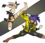 1boy 1girl bangs barefoot bea_(pokemon) black_bodysuit black_gloves black_hairband black_shorts bodysuit bodysuit_under_clothes bow_hairband clenched_hand closed_mouth commentary_request dark_skin dark_skinned_male facial_hair gloves grey_eyes grey_hair gym_leader hairband jacket knee_pads knees leon_(pokemon) long_hair master_dojo_uniform picube525528 pokemon pokemon_(game) pokemon_swsh print_shorts purple_hair shirt short_hair short_sleeves shorts soles tied_shirt toes yellow_eyes yellow_jacket