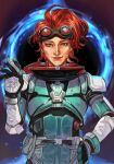 1girl apex_legends armor blue_eyes bodysuit closed_mouth goggles hand_on_hip hand_up horizon_(apex_legends) hungry_clicker looking_at_viewer redhead short_hair smile solo waving