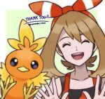 1girl ^_^ artist_name bangs bare_shoulders border brown_hair closed_eyes collarbone commentary english_text gen_3_pokemon hairband hands_up happy highres may_(pokemon) medium_hair open_mouth outline outside_border pokemon pokemon_(creature) pokemon_(game) pokemon_oras red_hairband red_shirt rorosuke shiny shiny_hair shirt sleeveless sleeveless_shirt smile straight-on teeth thank_you torchic twitter_username upper_body violet_eyes white_border white_outline