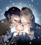 2boys ainu ainu_clothes black_eyes black_hair blue_collar buttons collar collared_coat couple facial_hair golden_kamuy hat head_to_head headband heart heart_hands heart_hands_duo highres kadokura_(golden_kamuy) kepi kirawus_(golden_kamuy) long_sleeves male_focus military_hat mohawk multiple_boys old old_man short_hair sideburns simple_background stubble upper_body w55674570w