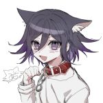 1boy :d animal_collar animal_ear_fluff animal_ears bangs black_hair blush cat_ears chain collar danganronpa_(series) danganronpa_v3:_killing_harmony extra_ears fang grey_background hair_between_eyes hand_up kemonomimi_mode long_sleeves looking_at_viewer male_focus multicolored_hair open_mouth ouma_kokichi purple_hair raonal97 shirt short_hair simple_background sketch smile solo straitjacket two-tone_hair upper_body violet_eyes white_background white_shirt