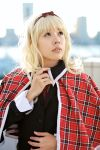 blazer blonde_hair cape cosplay hair_bow maritsuki_haru mashiro_rima photo school_uniform shugo_chara! tartan