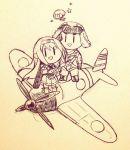 1boy 2girls airplane fairy_(kantai_collection) hairband japanese_clothes kantai_collection long_hair monochrome multiple_girls pilot shigemitsu_jun shoukaku_(kantai_collection)