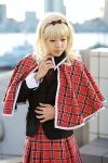 blazer blonde_hair cape cosplay hair_bow maritsuki_haru mashiro_rima pantyhose photo pleated_skirt school_uniform shugo_chara! tartan