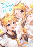1boy 1girl :d bangs black_sailor_collar black_sleeves blonde_hair blue_eyes bow brother_and_sister collared_shirt crop_top detached_sleeves grin hair_bow hair_ornament hairclip happy_birthday headphones kagamine_len kagamine_rin looking_at_viewer midriff nanase_(nns_6077) navel neckerchief necktie one_eye_closed open_mouth sailor_collar sailor_collar_lift sailor_shirt shiny shiny_hair shirt short_hair short_sleeves siblings sleeveless sleeveless_shirt smile stomach swept_bangs vocaloid white_bow white_shirt yellow_neckwear