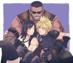 1girl 2boys arm_cannon arm_guards arm_tattoo armor barret_wallace beard black_hair black_legwear blonde_hair brown_eyes cloud_strife dark_skin dark_skinned_male facial_hair final_fantasy final_fantasy_vii final_fantasy_vii_remake gloves group_hug hug looking_at_another multiple_boys shoulder_armor sleeveless sleeveless_turtleneck spiky_hair suspenders sweatdrop tattoo thigh-highs tifa_lockhart turtleneck weapon yuuri_(yuri83)