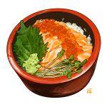 bowl chirashi_(food) fish food food_focus ikura_(food) leaf no_humans original rice roe salmon sashimi simple_background still_life studiolg sushi vegetable white_background
