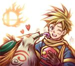 1boy amaterasu armor blonde_hair gloves golden_sun grey_eyes happy heart in_mouth logo nintendo one_eye_closed ookami_(game) paintbrush robin_(golden_sun) scarf super_smash_bros. tacoyaki tattoo