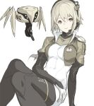 1girl bad_id bad_twitter_id blonde_hair bodysuit breasts brown_eyes closed_mouth cropped_jacket hair_between_eyes headset jacket km_yama looking_at_viewer medium_breasts microphone open_clothes open_jacket original pale_skin robot simple_background sitting smile solo thigh_strap white_background