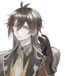 1boy black_gloves brown_hair buttoniris coat eyeshadow genshin_impact gloves hand_up head_tilt long_hair makeup male_focus open_clothes open_coat pale_skin parted_lips simple_background solo upper_body white_background yellow_eyes zhongli_(genshin_impact)