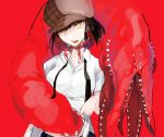 1girl brown_hair brown_headwear chest_mouth collarbone disembodied_head eldritch_abomination extra_mouth hat highres lifted_by_self lower_teeth monster multicolored multicolored_hair open_mouth original red_background red_theme redhead sharp_teeth solo teeth tongue yellow_eyes yorurokujuu