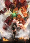 1girl absurdres boots breasts closed_mouth embers fire full_body glowing hand_on_hip hand_up highres huge_filesize large_breasts long_hair looking_at_viewer mecha original red_eyes robot standing tachibana_yuu_(shika) thigh-highs thigh_boots white_hair