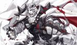 1boy animal_ears arknights black_tank_top blood blood_splatter brass_knuckles chain_necklace covered_abs dog_tags fighting_stance foreshortening furry male_focus mountain_(arknights) muscular muscular_male pants pectorals scar scar_across_eye short_hair solo tank_top tiger_boy tiger_ears tiger_stripes weapon white_fur white_pants wind yukiusagi1983