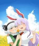 2girls ^_^ ^o^ animal_ears arm_around_shoulder bangs black_hairband black_neckwear black_ribbon blue_sky blunt_bangs blush bow bowtie cheek-to-cheek closed_eyes clouds cloudy_sky collared_shirt commentary_request day eyebrows_visible_through_hair field finger_gun flower flower_field green_vest grey_eyes grin hair_ribbon hairband hand_on_another's_shoulder holding holding_flower konpaku_youmu koyama_shigeru long_hair looking_at_another multiple_girls necktie open_mouth outdoors puffy_short_sleeves puffy_sleeves purple_hair rabbit_ears red_neckwear reisen_udongein_inaba ribbon shirt short_hair short_sleeves side-by-side silver_hair sky smile teeth touhou upper_teeth vest white_shirt yellow_flower yuri
