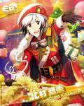 cape character_name christmas dress idolmaster idolmaster_side-m jacket kitamura_sora red_eyes short_hair smile white_hair wink