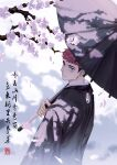 1boy black_hair black_kimono brown_eyes cherry_blossoms facial_mark from_behind highres holding holding_umbrella itadori_yuuji japanese_clothes jujutsu_kaisen kimono light_smile looking_at_viewer male_focus mo_si_(z1216150815) petals pink_hair short_hair solo spiky_hair translation_request umbrella undercut upper_body