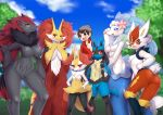 1boy 6+girls :< :3 animal_ear_fluff animal_ears animal_nose artist_name ass ass_visible_through_thighs bangs beanie black_fur black_hair blue_eyes blue_fur blue_hair blue_sky blurry blurry_background blush body_fur braixen breasts brown_eyes brown_hair bunny_tail cinderace claws closed_mouth clouds collared_shirt colored_skin commentary_request day delphox english_commentary eyebrows_visible_through_hair fox_ears fox_girl fox_tail from_behind furry gen_4_pokemon gen_5_pokemon gen_6_pokemon gen_7_pokemon gen_8_pokemon grass grey_fur grey_headwear groin hair_ornament hand_on_hip hand_on_own_face hand_up hands_on_hips hands_up happy hat height_difference large_breasts light_blush long_hair looking_at_another looking_at_viewer looking_back low-tied_long_hair lucario medium_breasts mermaid mixed-language_commentary monster_girl multicolored_hair multiple_girls navel nervous no_nipples no_pussy open_mouth outdoors partial_commentary paws pearl_(gemstone) pokemon pokemon_(creature) pokemon_(game) pokemon_swsh primarina rabbit_ears rabbit_girl red_eyes red_fur red_shirt redhead see-through shiny shiny_hair shirt short_hair shy sidelocks signature sky small_breasts smile snout spikes standing starfish stomach swept_bangs tail teeth thumbs_up tree two-tone_hair upper_body very_long_hair victor_(pokemon) wavy_mouth white_fur white_skin wide_hips wolf_ears wolf_girl wolf_tail wolflong yellow_fur zoroark