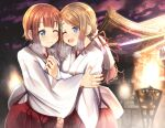 2girls ;) ;d ayase_arisa bangs blue_eyes blush brown_hair building closed_mouth commentary_request eyebrows_visible_through_hair fire hakama hip_vent hug japanese_clothes kimono kousaka_yukiho long_hair long_sleeves love_live! love_live!_school_idol_project low_ponytail mad_(hazukiken) miko multiple_girls one_eye_closed open_mouth ponytail red_hakama smile swept_bangs upper_teeth white_kimono wide_sleeves