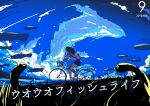 1girl 2018 air_bubble background_text backpack bag bare_legs berryverrine bicycle bicycle_basket blue_skirt blue_sky brown_footwear brown_hair bubble closed_eyes clouds cloudy_sky commentary_request dated fish floating floating_fish full_body grass ground_vehicle hand_up highres long_hair loose_socks meadow ocean original riding school_of_fish school_uniform sea_worm_(metal_slug) september serafuku shark_bag shirt shoes skirt sky socks solo translation_request wavy_hair white_legwear white_shirt yawning