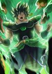 1boy absurdres black_hair broly broly_(dragon_ball_super) bulge dragon_ball dragon_ball_super energy hands_up highres huge_filesize looking_down medium_hair muscular muscular_male open_mouth pectorals scar scar_on_cheek scar_on_face skin_tight tachibana_yuu_(shika) teeth thick_thighs thighs veins yellow_eyes