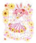 1girl ;d alternate_costume animal_ears ankle_strap argyle argyle_background beige_background border bow center_frills colorful confetti dot_nose easter eyebrows_visible_through_hair facing_viewer fake_animal_ears fingernails flat_chest flower flower_border flower_skirt frills full_body hair_flower hair_ornament hair_ribbon hands_up happy highres kaname_madoka knees_together_feet_apart light_blush mahou_shoujo_madoka_magica miniskirt mochizuki_yomogi neck_ribbon one_eye_closed open_mouth orange_flower pantyhose pink_eyes pink_flower pink_hair pom_pom_(clothes) puffy_short_sleeves puffy_sleeves purple_flower rabbit_ears red_ribbon ribbon shiny shiny_hair shoes short_sleeves short_twintails simple_background skirt smile solo soul_gem striped striped_skirt tareme twintails vertical-striped_skirt vertical_stripes waist_bow white_border white_bow white_footwear white_legwear wrist_cuffs yellow_flower yellow_ribbon