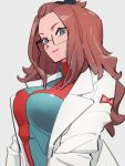 1girl alternate_hairstyle android_18 black_ribbon blue_eyes breasts checkered checkered_dress closed_mouth dragon_ball dragon_ball_fighterz dress glasses grey_background hair_ribbon kemachiku labcoat long_hair long_sleeves looking_at_viewer red_ribbon_army redhead ribbon simple_background smile solo upper_body