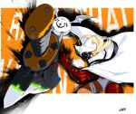 1girl bandaged_arm bandaged_hand bandaged_leg bandages blonde_hair character_name clover creature dark_skin dark_skinned_female dgk english_text flying four-leaf_clover glowing glowing_eyes guilty_gear hat highres huge_weapon katana long_hair ramlethal_valentine scabbard sheath sheathed sword thigh_strap weapon white_headwear wide-eyed wings yellow_eyes