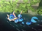 closed_eyes closed_mouth commentary_request gen_1_pokemon gen_8_pokemon highres leaf looking_at_viewer looking_back no_humans nullma open_mouth pokemon pokemon_(creature) shiny sobble starter_pokemon swimming tongue vaporeon water wet