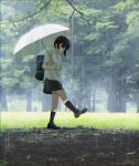1girl bag black_hair black_legwear commentary day english_commentary grass highres holding kneehighs loafers original outdoors pleated_skirt rain sakeharasu school_bag school_uniform shoes short_hair skirt solo tree umbrella