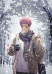 1boy alternate_costume beige_jacket black_hair black_scarf breath brown_eyes cup disposable_cup facial_mark highres hood hooded_jacket itadori_yuuji jacket jujutsu_kaisen looking_at_viewer male_focus mo_si_(z1216150815) pink_hair scarf short_hair snowing solo spiky_hair sweater textless undercut upper_body white_sweater winter_clothes