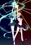2girls absurdres bangs bishoujo_senshi_sailor_moon black_skirt blue_bow bow breasts clenched_hands energy gold_hairband green_hair green_skirt hands_up highres huge_filesize kaiou_michiru long_legs looking_at_viewer magical_girl medium_breasts multiple_girls open_hands parted_bangs pochi_(askas_is_god) sailor_collar sailor_neptune sailor_senshi_uniform sailor_uranus short_hair skirt ten'ou_haruka yellow_bow