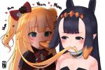 2girls akai_haato animal_ears bare_shoulders black_capelet black_hair blonde_hair blue_eyes blush bow capelet choker drooling eating eating_hair empty_eyes forehead green_eyes hair_bow hair_ornament hairclip heart highres hololive hololive_english long_hair mouth_hold multiple_girls ninomae_ina'nis pointy_ears ribbon saliva simple_background tentacle_hair tentacles two_side_up upper_body virtual_youtuber voc white_background