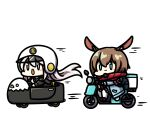 2girls amiya_(arknights) amiya_(fresh_fastener)_(arknights) animal_ears arknights azur_lane blue_eyes brown_hair car chibi crossover driving enterprise_(azur_lane) grey_eyes ground_vehicle helmet kagami_kino long_hair motor_vehicle motorcycle motorcycle_helmet multiple_girls official_alternate_costume on_motorcycle open_mouth rabbit_ears red_scarf riding scarf silver_hair simple_background smile thigh-highs very_long_hair white_background white_legwear