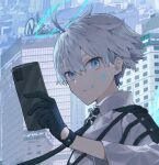 1boy ahoge black_gloves black_neckwear blue_eyes building cellphone closed_mouth cropped eyebrows_visible_through_hair facial_mark gloves grey_hair hair_between_eyes halo highres hinayuri holding holding_phone male_focus necktie original outdoors phone smile solo wings