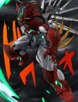 absurdres amakawa_mayu clouds cloudy_sky getter_arc getter_robo getter_robo_arc highres horns huge_filesize looking_at_viewer mecha no_humans open_hands open_mouth science_fiction sharp_teeth sky solo super_robot teeth yellow_eyes