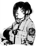 1girl closed_mouth facepaint greyscale head_tilt headwear_removed helmet helmet_removed highres holding holding_helmet jacket looking_at_viewer military military_jacket military_uniform mochi_(circle_rin) monochrome original pilot_helmet pilot_suit ponytail simple_background smile solo uniform upper_body white_background
