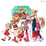 6+girls alia_(rockman) android animal bangs blonde_hair blue_eyes bodysuit brown_gloves cabbie_hat ciel_(rockman) data_(rockman_dash) dress eyebrows_visible_through_hair gloves green_eyes green_ribbon hair_between_eyes hair_ribbon hat headgear helmet high_ponytail holding holding_animal lareindraws long_hair microphone monkey multiple_girls netnavi open_mouth pantyhose pink_bodysuit ponytail red_dress red_headwear red_shorts ribbon rockman rockman_(classic) rockman_dash rockman_exe rockman_x rockman_zero roll_(rockman) roll_caskett roll_exe ryuusei_no_rockman shorts skirt smile standing walking white_gloves