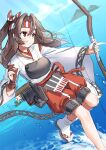 1girl absurdres arrow_(projectile) bangs bow_(weapon) brown_eyes brown_hair closed_mouth clouds day hachimaki hair_between_eyes hakama hakama_pants headband highres holding holding_bow_(weapon) holding_weapon japanese_clothes kantai_collection long_hair long_sleeves mizuki_eiru_(akagi_kurage) muneate outdoors quiver red_hakama rigging sandals sky solo water weapon wide_sleeves zuihou_(kantai_collection)