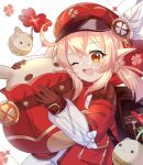 1girl backpack bag bag_charm brown_gloves cabbie_hat charm_(object) clover dress genshin_impact gloves hat hat_feather highres klee_(genshin_impact) low_twintails one_eye_closed open_mouth pointy_ears red_dress red_headwear sara_99 twintails twitter_username white_background white_feathers