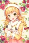 1girl arms_up blonde_hair blush bow braid branch commentary crossed_arms dot_nose english_commentary eyebrows_visible_through_hair flower flower_request fur-trimmed_headwear green_eyes hair_bow hanbok hat highres holding holding_stuffed_toy korean_clothes looking_at_viewer medium_hair nengajou new_year open_mouth original pine_(angel4195202) red_bow smile solo stuffed_cow stuffed_toy twin_braids upper_body upper_teeth yellow_background yellow_headwear yellow_theme