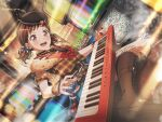 bang_dream! blush brown_eyes brown_hair dress hazawa_tsugumi keyboard_(instrument) short_hair smile