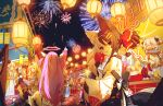 :o ahoge alice_mana alice_mana_channel animal_ear_fluff animal_ears black_bow black_hair bow candy_apple drink eyebrows_visible_through_hair fireworks fish food goldfish hair_between_eyes hair_bow hair_ornament hands_up highres holding holding_drink holding_food japanese_clothes kimono long_hair looking_at_viewer looking_back multicolored_hair multiple_girls one_eye_covered open_mouth parted_lips pink_hair red_bow red_eyes red_kimono short_hair summer_festival virtual_youtuber white_hair wide_sleeves yorurui_sansan yukata