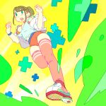 1girl bare_shoulders blush breasts brown_hair green_eyes lvhang1023 medium_hair midriff_peek navel open_mouth original pixel_art plus_sign ponytail running shoes sneakers solo thigh-highs tongue transparent
