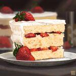 artist_name blurry blurry_background cake dessert english_text food food_focus fruit highres nanashi_(freshman) no_humans original pastry plate still_life strawberry