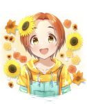 1girl :d blush collarbone drawstring eyebrows_visible_through_hair eyelashes flower hair_flower hair_ornament hood hood_down hoodie idolmaster idolmaster_cinderella_girls long_sleeves looking_at_viewer open_mouth orange_hair overalls pocket ryuuzaki_kaoru shirt short_sleeves smile solo star_(symbol) striped striped_shirt sunflower suspenders teeth thick_eyebrows tsunenorip upper_body yellow_eyes